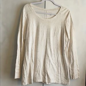White and gold shimmer top